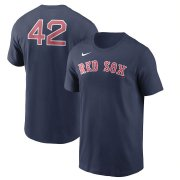 Wholesale Cheap Boston Red Sox Nike Jackie Robinson Day Team 42 T-Shirt Navy
