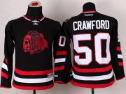 Wholesale Cheap Blackhawks #50 Corey Crawford Black(Red Skull) 2014 Stadium Series Stitched Youth NHL Jersey