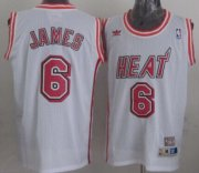 Wholesale Cheap Miami Heat #6 LeBron James White Swingman Throwback Jersey