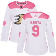 Wholesale Cheap Adidas Ducks #9 Paul Kariya White/Pink Authentic Fashion Women's Stitched NHL Jersey