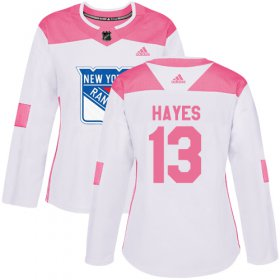 Wholesale Cheap Adidas Rangers #13 Kevin Hayes White/Pink Authentic Fashion Women\'s Stitched NHL Jersey