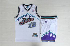 Wholesale Cheap Jazz 12 John Stockton White Hardwood Classics Jersey(With Shorts)