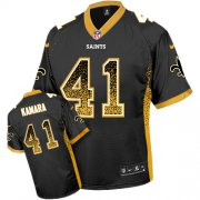 Wholesale Cheap Nike Saints #41 Alvin Kamara Black Team Color Men's Stitched NFL Elite Drift Fashion Jersey