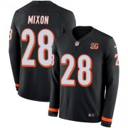 Wholesale Cheap Nike Bengals #28 Joe Mixon Black Team Color Men's Stitched NFL Limited Therma Long Sleeve Jersey