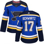 Wholesale Cheap Adidas Blues #17 Jaden Schwartz Blue Home Authentic Women's Stitched NHL Jersey