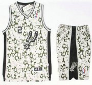 Wholesale Cheap San Antonio Spurs #2 Kawhi Leonard Revolution 30 Swingman Grey Camo NBA Jerseys Shorts Suits