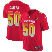 Wholesale Cheap Nike Jaguars #50 Telvin Smith Red Men's Stitched NFL Limited AFC 2018 Pro Bowl Jersey