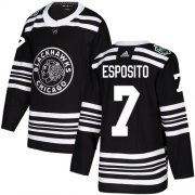 Wholesale Cheap Adidas Blackhawks #7 Tony Esposito Black Authentic 2019 Winter Classic Stitched NHL Jersey