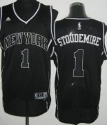 Wholesale Cheap New York Knicks #1 Amare Stoudemire Revolution 30 Swingman All Black With White Jersey