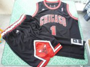Wholesale Cheap Chicago Bulls 1 Derek Rose black color Swingman Basketball Suit
