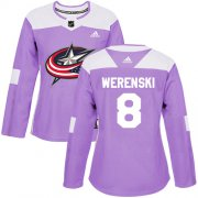 Wholesale Cheap Adidas Blue Jackets #8 Zach Werenski Purple Authentic Fights Cancer Women's Stitched NHL Jersey