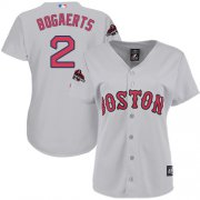Wholesale Cheap Red Sox #2 Xander Bogaerts Grey Road 2018 World Series Champions Women's Stitched MLB Jersey