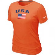 Wholesale Cheap Women's USA Olympics USA Flag Collection Locker Room T-Shirt Orange
