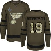 Wholesale Cheap Adidas Blues #19 Jay Bouwmeester Green Salute to Service Stanley Cup Champions Stitched NHL Jersey