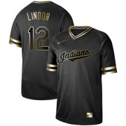 Wholesale Cheap Nike Indians #12 Francisco Lindor Black Gold Authentic Stitched MLB Jersey