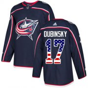 Wholesale Cheap Adidas Blue Jackets #17 Brandon Dubinsky Navy Blue Home Authentic USA Flag Stitched Youth NHL Jersey