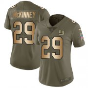 Wholesale Cheap Nike Giants #29 Xavier McKinney Olive/Gold Women's Stitched NFL Limited 2017 Salute To Service Jersey