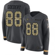 Wholesale Cheap Nike Eagles #88 Dallas Goedert Anthracite Salute to Service Women's Stitched NFL Limited Therma Long Sleeve Jersey