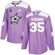 Cheap Adidas Stars #35 Anton Khudobin Purple Authentic Fights Cancer Youth 2020 Stanley Cup Final Stitched NHL Jersey