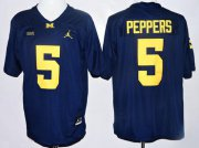 Wholesale Cheap Men's Michigan Wolverines #5 Jabrill Peppers Navy Blue Stitched NCAA Brand Jordan College Football Jersey