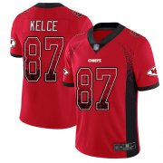 Wholesale Cheap Nike Chiefs #87 Travis Kelce Red Team Color Men's Stitched NFL Limited Rush Drift Fashion Jersey