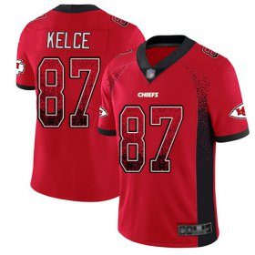 Wholesale Cheap Nike Chiefs #87 Travis Kelce Red Team Color Men\'s Stitched NFL Limited Rush Drift Fashion Jersey