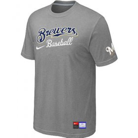 Wholesale Cheap Milwaukee Brewers Nike Short Sleeve Practice MLB T-Shirt Light Grey