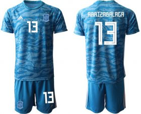 Wholesale Cheap Spain #13 Arrizabalaga Blue Goalkeeper Soccer Country Jersey