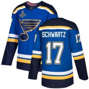 Wholesale Cheap Adidas Blues #17 Jaden Schwartz Blue Home Authentic Stanley Cup Champions Stitched NHL Jersey