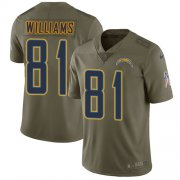Wholesale Cheap Nike Chargers #81 Mike Williams Olive Youth Stitched NFL Limited 2017 Salute to Service Jersey