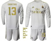 Wholesale Cheap Real Madrid #13 Courtois Home Long Sleeves Kid Soccer Club Jersey
