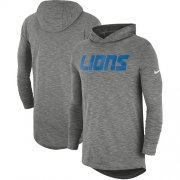 Wholesale Cheap Men's Detroit Lions Nike Heathered Gray Sideline Slub Performance Hooded Long Sleeve T-Shirt