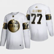 Wholesale Cheap Edmonton Oilers #77 Oscar Klefblom Men's Adidas White Golden Edition Limited Stitched NHL Jersey