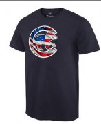 Wholesale Cheap Men's Chicago Cubs USA Flag Fashion T-Shirt Navy Blue