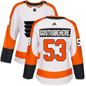 Wholesale Cheap Adidas Flyers #53 Shayne Gostisbehere White Road Authentic Women\'s Stitched NHL Jersey
