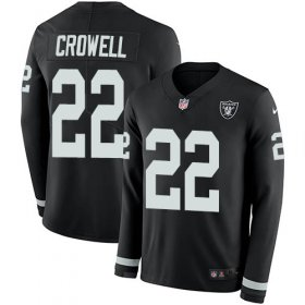 Wholesale Cheap Nike Raiders #22 Isaiah Crowell Black Team Color Men\'s Stitched NFL Limited Therma Long Sleeve Jersey