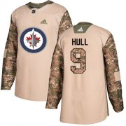Wholesale Cheap Adidas Jets #9 Bobby Hull Camo Authentic 2017 Veterans Day Stitched NHL Jersey