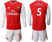 Wholesale Cheap Arsenal #5 Gabriel Red Home Long Sleeves Soccer Club Jersey