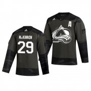 Wholesale Cheap Colorado Avalanche #29 Nathan MacKinnon Adidas 2019 Veterans Day Men's Authentic Practice NHL Jersey Camo