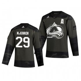 Wholesale Cheap Colorado Avalanche #29 Nathan MacKinnon Adidas 2019 Veterans Day Men\'s Authentic Practice NHL Jersey Camo
