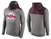 Wholesale Cheap Men's Philadelphia Phillies Nike Gray Cooperstown Collection Hybrid Pullover Hoodie