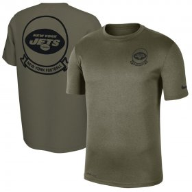 Wholesale Cheap Men\'s New York Jets Nike Olive 2019 Salute to Service Sideline Seal Legend Performance T-Shirt