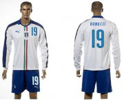 Wholesale Cheap Italy #19 Bonucci White Away Long Sleeves Soccer Country Jersey