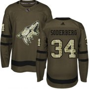 Wholesale Cheap Adidas Coyotes #34 Carl Soderberg Green Salute to Service Stitched NHL Jersey