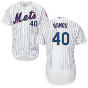 Wholesale Cheap Mets #40 Wilson Ramos White(Blue Strip) Flexbase Authentic Collection Stitched MLB Jersey