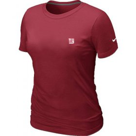 Wholesale Cheap Women\'s Nike New York Giants Chest Embroidered Logo T-Shirt Red