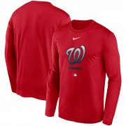 Wholesale Cheap Men's Washington Nationals Nike Red Authentic Collection Legend Performance Long Sleeve T-Shirt