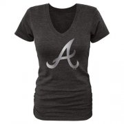 Wholesale Cheap Women's Atlanta Braves Fanatics Apparel Platinum Collection V-Neck Tri-Blend T-Shirt Black