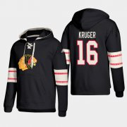 Wholesale Cheap Chicago Blackhawks #16 Marcus Kruger Black adidas Lace-Up Pullover Hoodie