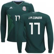 Wholesale Cheap Mexico #17 J.M.Corona Home Long Sleeves Kid Soccer Country Jersey